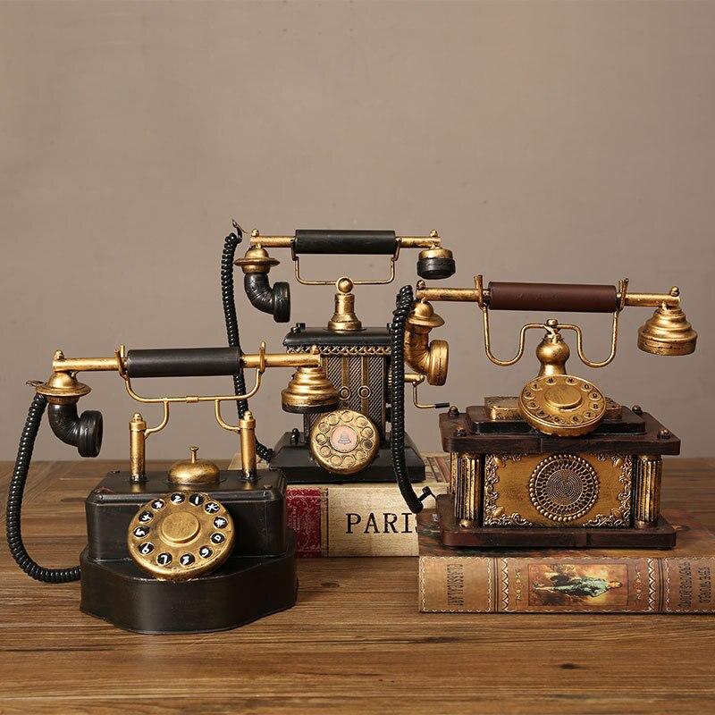 Conjunto de teléfono Vintage para decoración del hogar, accesorios de teléfono de hierro viejo hechos a mano