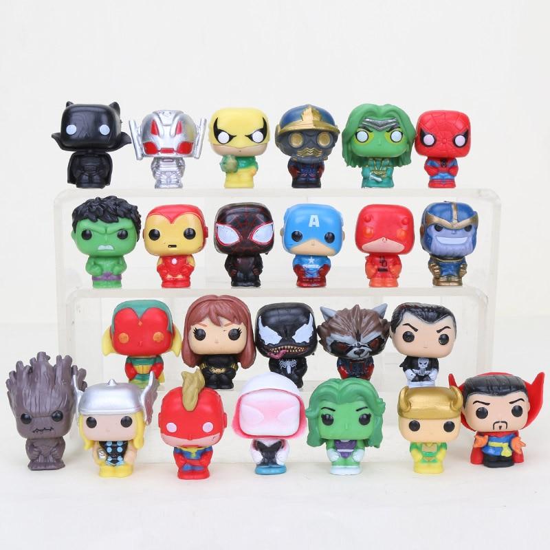 24 unids/set vengadores superhéroes Q versión Hulk Batman Thor VENOM de deadpool Capitán América figura Pantera Negra juguetes 4cm para niños