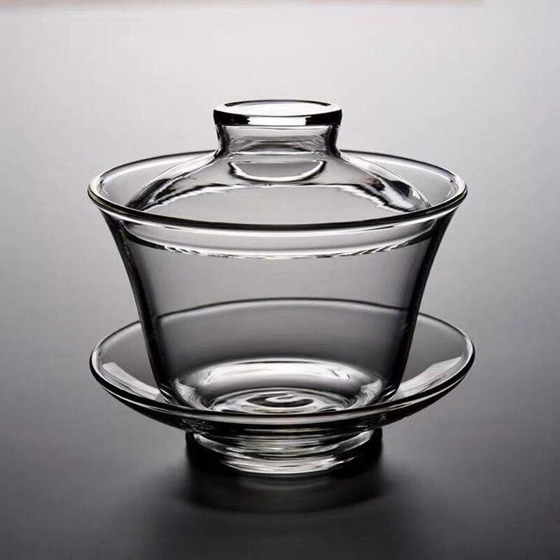 الإبداعية سميكة الزجاج غطاء وعاء ارتفاع درجة الحرارة مقاومة الشاي موزع كبير قبضة اليد الكونغ فو فنجان الشاي مجموعة أكواب الشاي الزجاجية