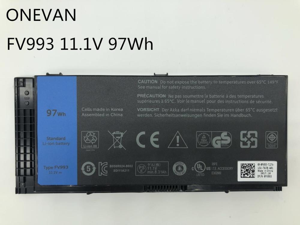 ONEVAN FV993 Батарея для DELL Precision M6600 M6700 M6800 M4800 M4600 M4700 FJJ4W PG6RC R7PND OTN1K5 11,1 V 97WH корейский Аккумуляторный элемент