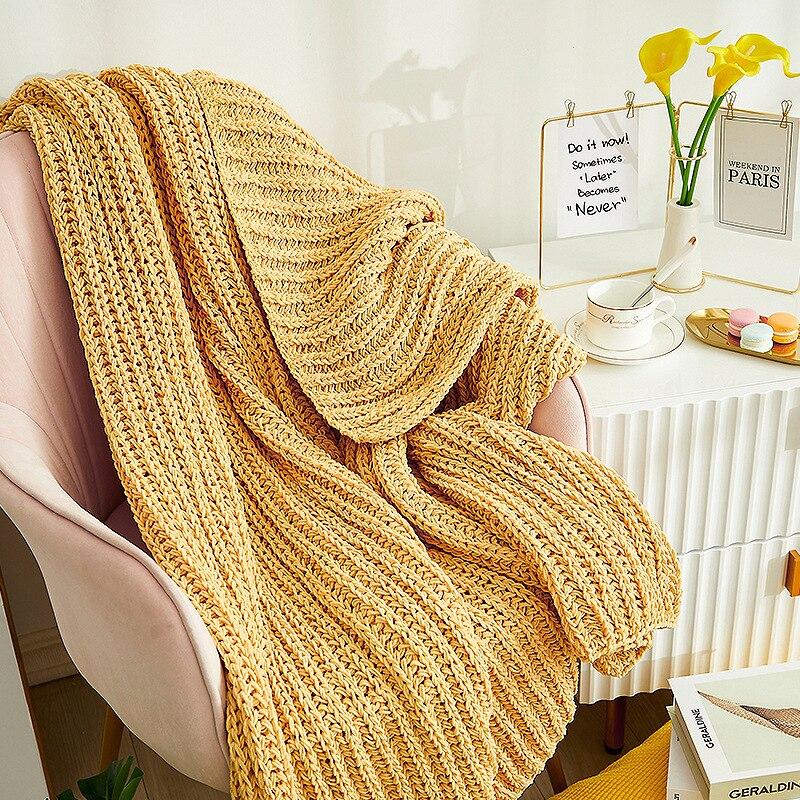 بطانية قطنية محبوكة ، 100 × 120 سنتيمتر ، للمنزل ، أريكة ، كرسي ، سرير ، جميع الفصول ، صناعة يدوية