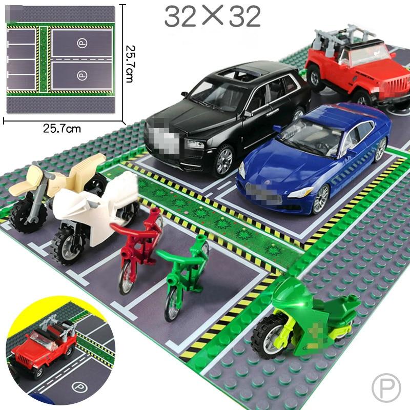 City Street View  BasePlate 32*32 Road Parking Lot Base Plate Road Plate Building Blocks Bricks DIY Toys For Children