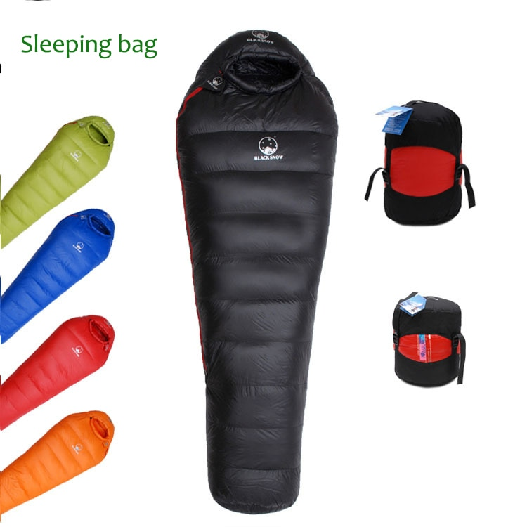 90% White Goose Down Filled Adult Mummy Style Sleeping Bag Fit For Winter Thermal 4 Kinds Of Thickness Camping Backpack Travel