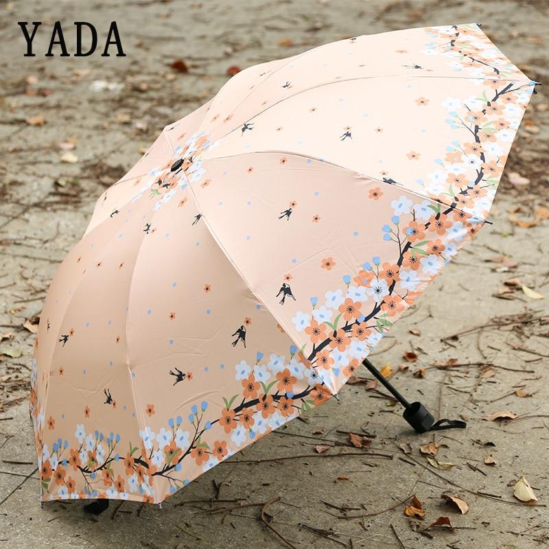 YADA Flowers&Swallow Bird Umbrella Rain Women Flower Floral ANTI-UV Foldable Umbrella For Women Windproof Umbrellas Female YS721