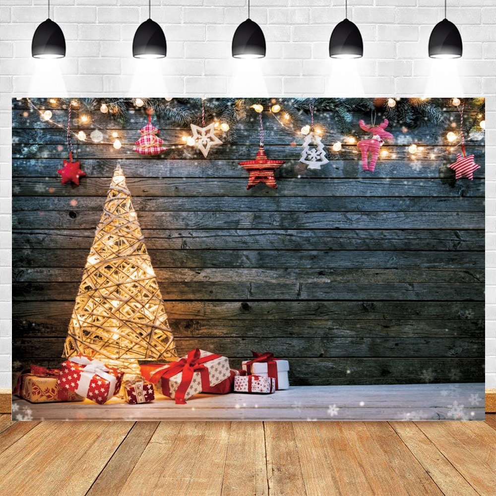 vintage wood board winter christmas tree branch photography backdrop vinyl photographic background for photo studio photophone Christmas Backdrop Vintage Wood Board Light Tree Baby Portrait Vinyl Photography Background For Photo Studio Photophone Shoot
