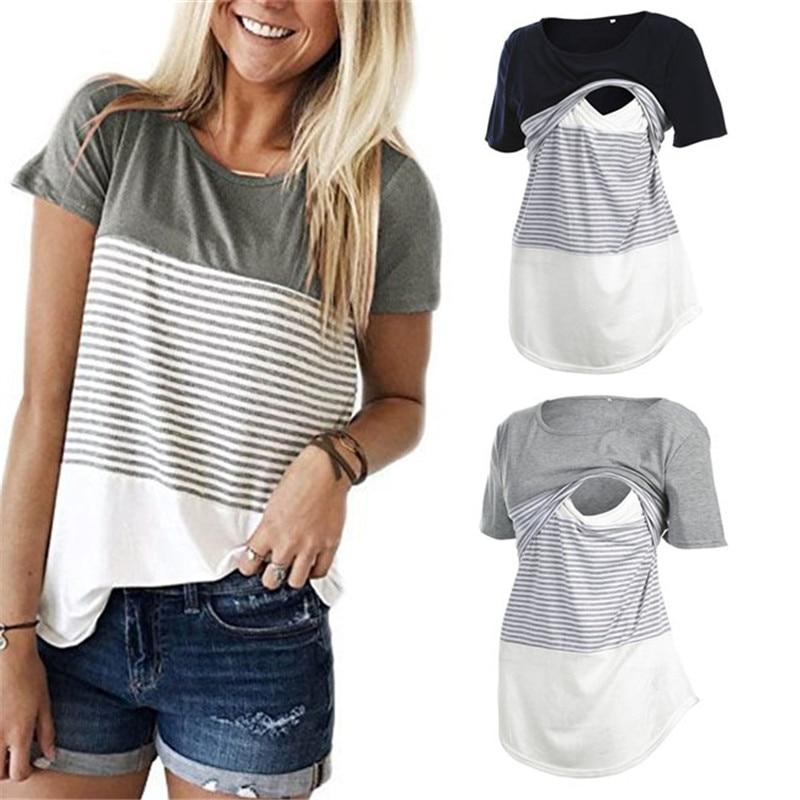 Women Maternity Breastfeeding Tee Nursing Tops Striped Short Sleeve T-shirt Plus Size S-2XL Maternity Clothing Tees