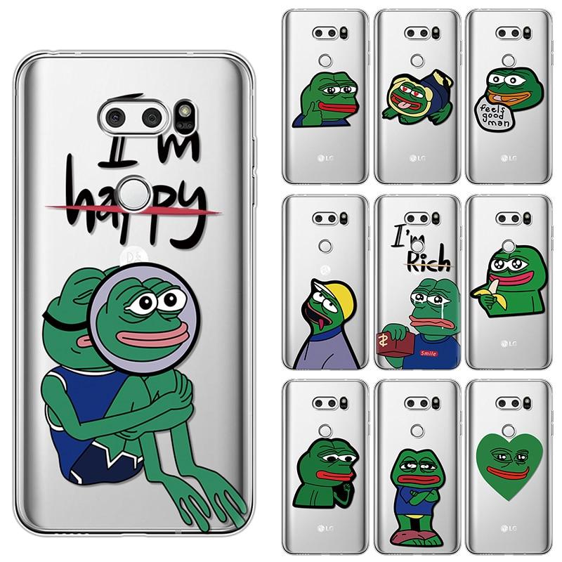 La rana Pepe cara llorando feliz funda de TPU suave para LG X Power 2 G4 G5 G6 G8 ThinQ Q6 Q7 K4 K8 K10 K11 Plus 2017 V20 V30 funda Capa