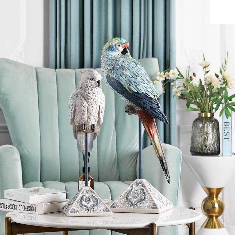 [MGT] decoración de loros nórdica, accesorios para el hogar, escultura para sala de estar, mueble de TV de entrada, estatua oscilante artesanal