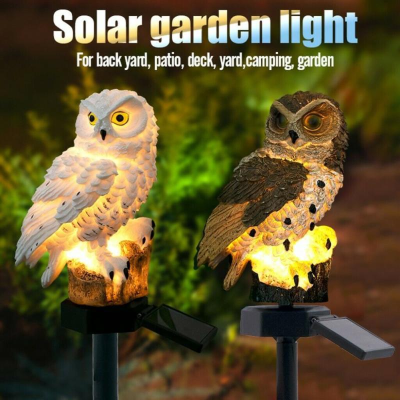 Lâmpada led de energia solar, à prova d água, decorativa de coruja, para área externa, lâmpada para gramado, para jardim, para áreas externas, dropshipping