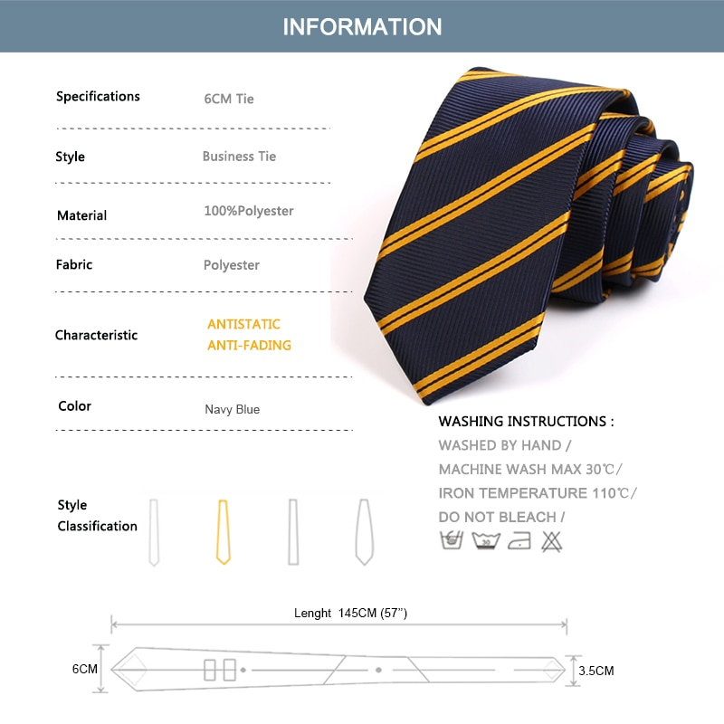 Brand New High Quality 6CM Slim Striped Tie For Men Business Suit Work Necktie Male Fashion Formal Neck Tie With Gift Box