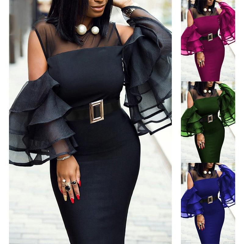 Plissado flare manga longa vestido feminino elegante moda malha o-neck vestidos sexy senhora roupas de verão com cintura plus size S-6XL
