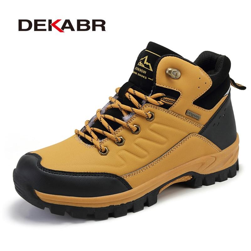 DEKABR-أحذية المشي لمسافات طويلة الجلدية للرجال ، أحذية الشتاء ، الأحذية الدافئة ، القطيفة ، مقاومة للماء ، عالية الجودة ، غير قابلة للانزلاق