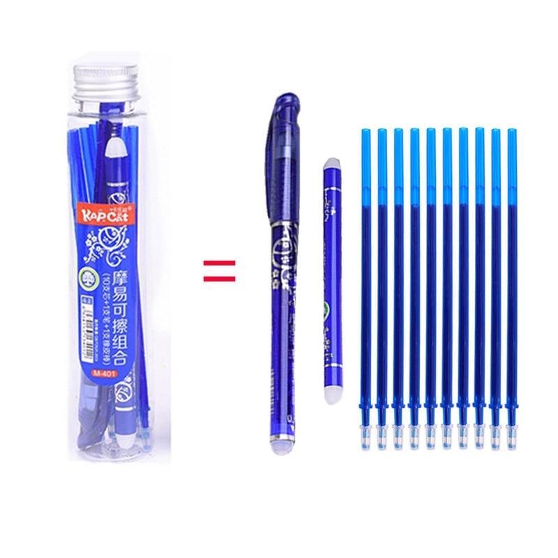Juego de bolígrafos de Gel borrables, 12 unidades, 0,5mm, mango lavable, mágicas, borrables, varillas para escribir, escuela, oficina, papelería