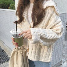 Early Autumn New Product ~ Korean Clever Odd Girl All-Matching Lapel Horn Button Twist Knit Outer Sw