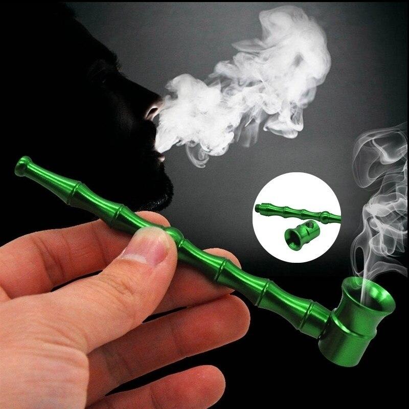 Портативные алюминиевые бамбуковые дымовые трубки, курительная трубка, табачные трубки
