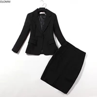 womens suits 2021 autumn new professional womens casual slim single button black small suit skirt two piece suit
