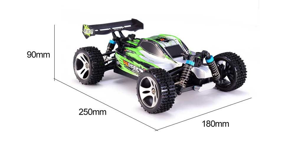1:18 Wltoys A959-A 2.4G 1/18 Scale 4WD RC Speedcar 35km/h Remote Control Racing High Speed Shockproof Off-Road Car Green Metal enlarge