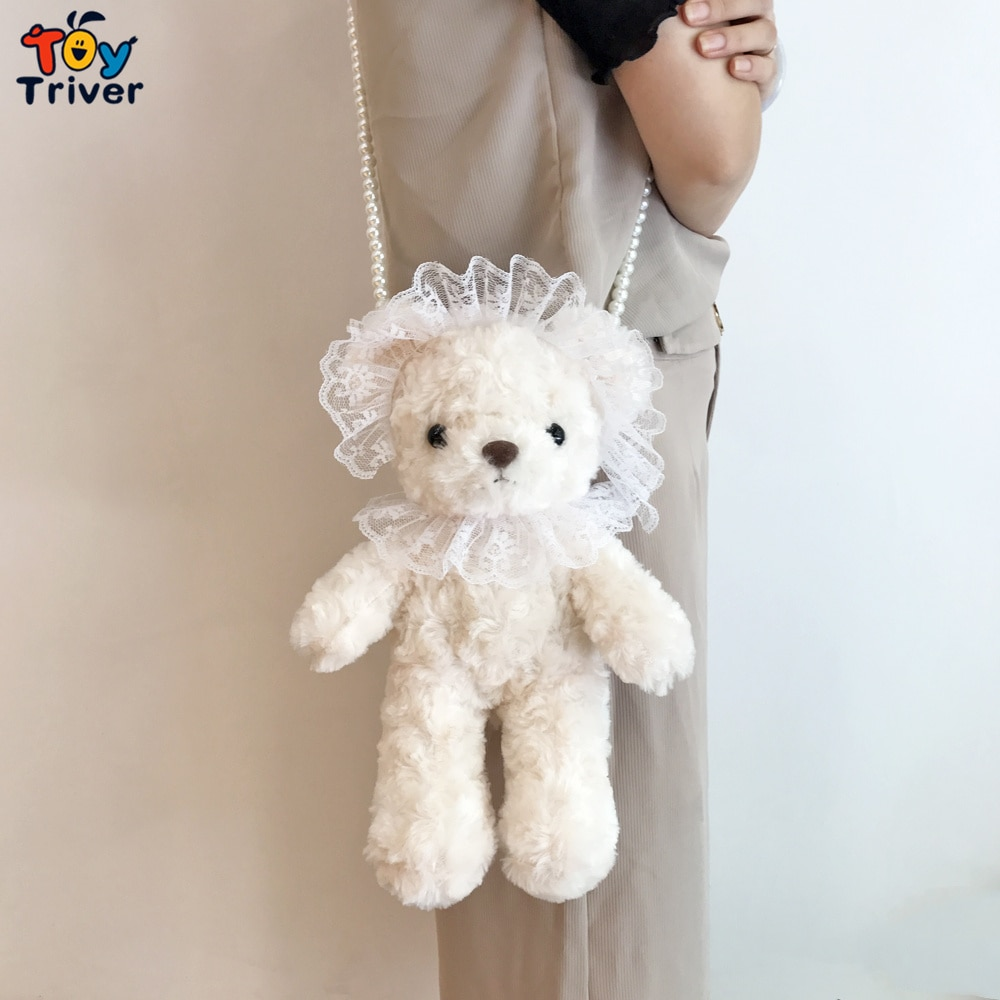 Cute Teddy Bear Plush Toy Stuffed Animals CrossBody Shoulder Bag Coin Purse Wallet Pouch Kids Children Girls Toys Birthday Gift