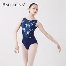 Ballet justaucorps femmes Dancewear formation professionnelle gymnastique impression numérique dos ouvert sexy justaucorps ballerine 2507