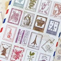6 sheets vintage stamp style decorative adhesive stickers album diarydecor