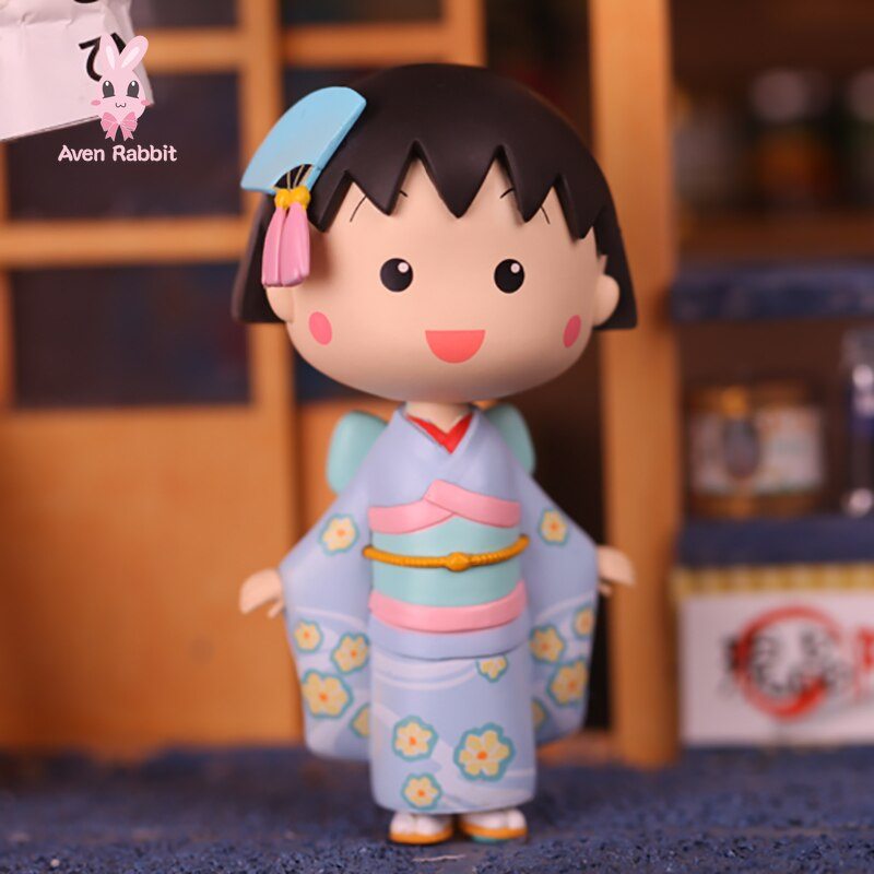 Figuras de la serie Kimono de maruko-chan de Chibi auténtico, juguetes de figuras de Anime Guess Bag, bonitos modelos de regalo para bebé niña