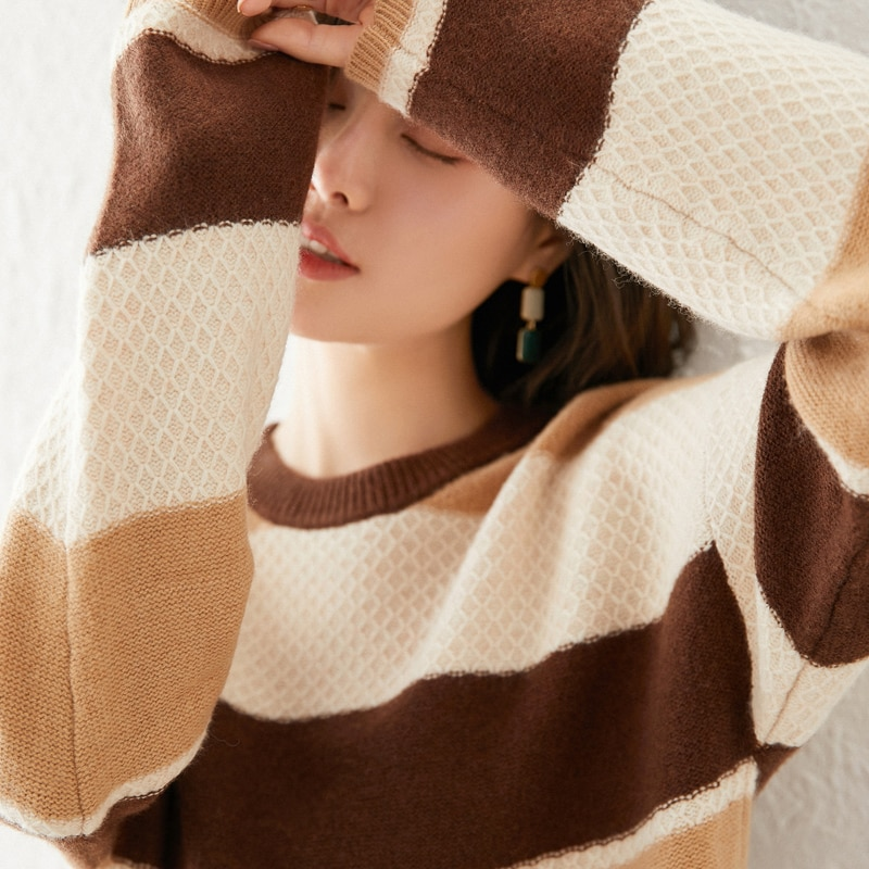 adohon 2021 woman winter 100% Cashmere sweaters knitted Pullovers jumper Warm Female O-neck blouse blue long sleeve Patchwork enlarge
