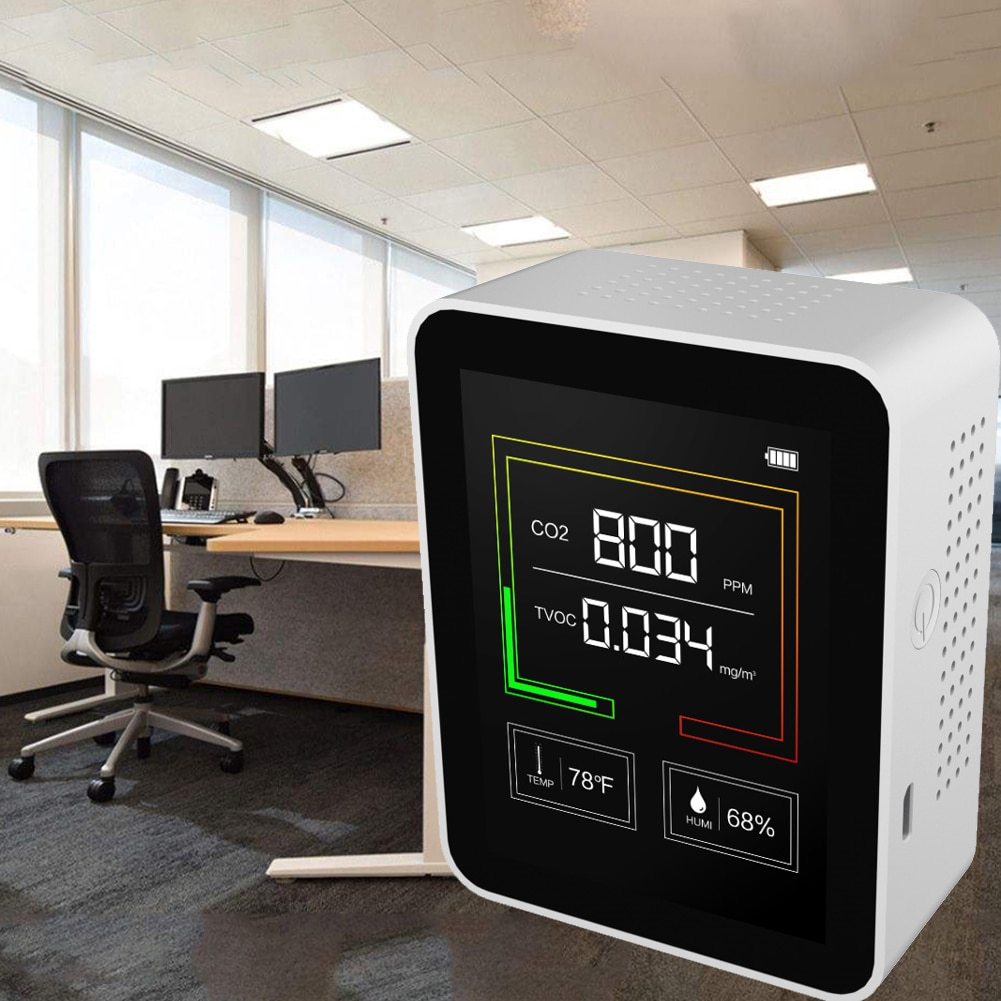 CO2 Meter Temperature and Humidity Detector Portable Air Quality Monitor TVOC Formaldehyde HCHO Detector enlarge