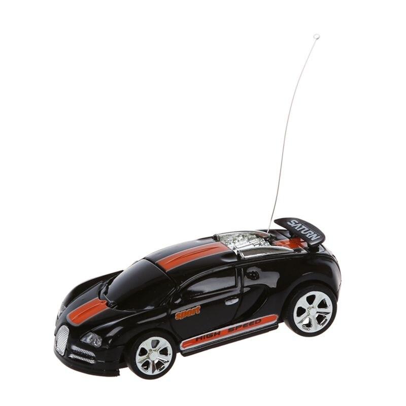 Mini RC control remoto coches de carreras de coches de juguete en la bebida Can 158 (negro con franja naranja) Nuevo