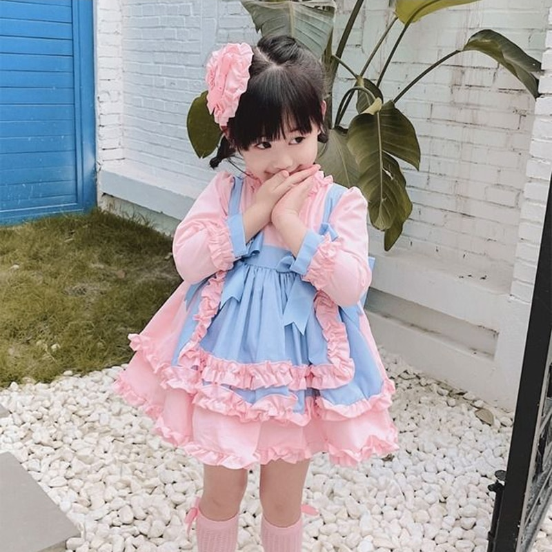 kids Dress 1-6Y Baby Girl dresses Autumn winter Pink Gown Vintage Spanish Turkish Lolita Princess Dress for Girl Birthday Party enlarge