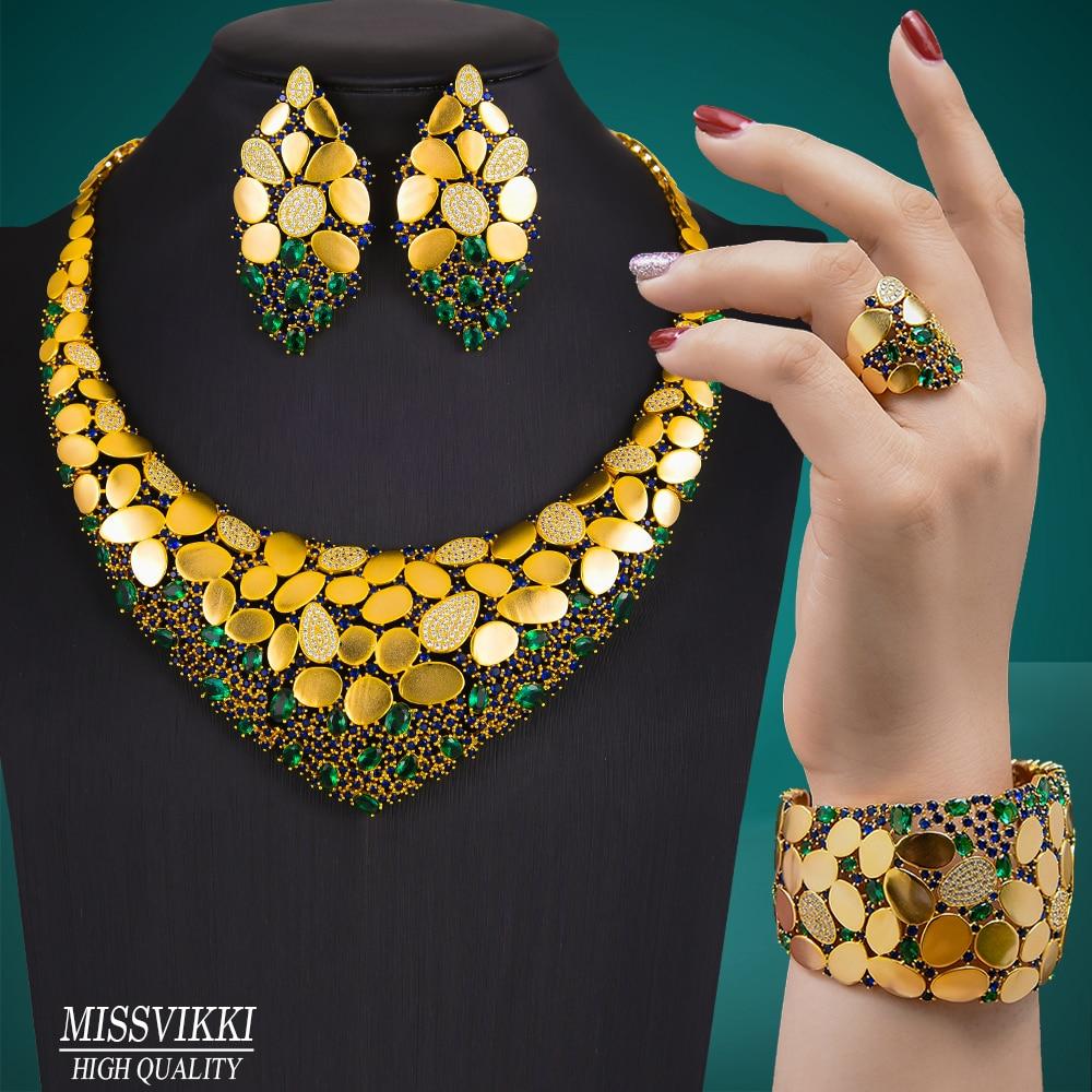 Missvikki الفاخرة رائع 4 قطعة العصرية دبي قلادة الإسورة أقراط الطوق مجموعات مجوهرات للنساء الزفاف عالية الجودة