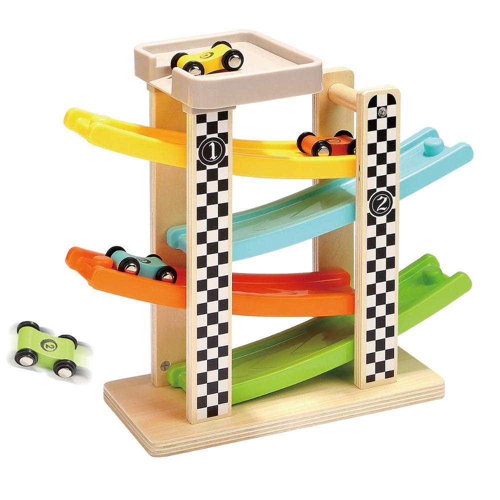 Pista de madera para coches de carreras para niños, pista deslizante de...