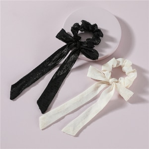 LUNA CHIAO Solid Color Satin Fabric Scrunchies Ponytail Holder Bow Knot Hair Scarf Accessories for Women