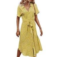 hirigin women v neck casual summer bohemain midi dress clothes fashion floral print loose shirt dress short sleeve button down