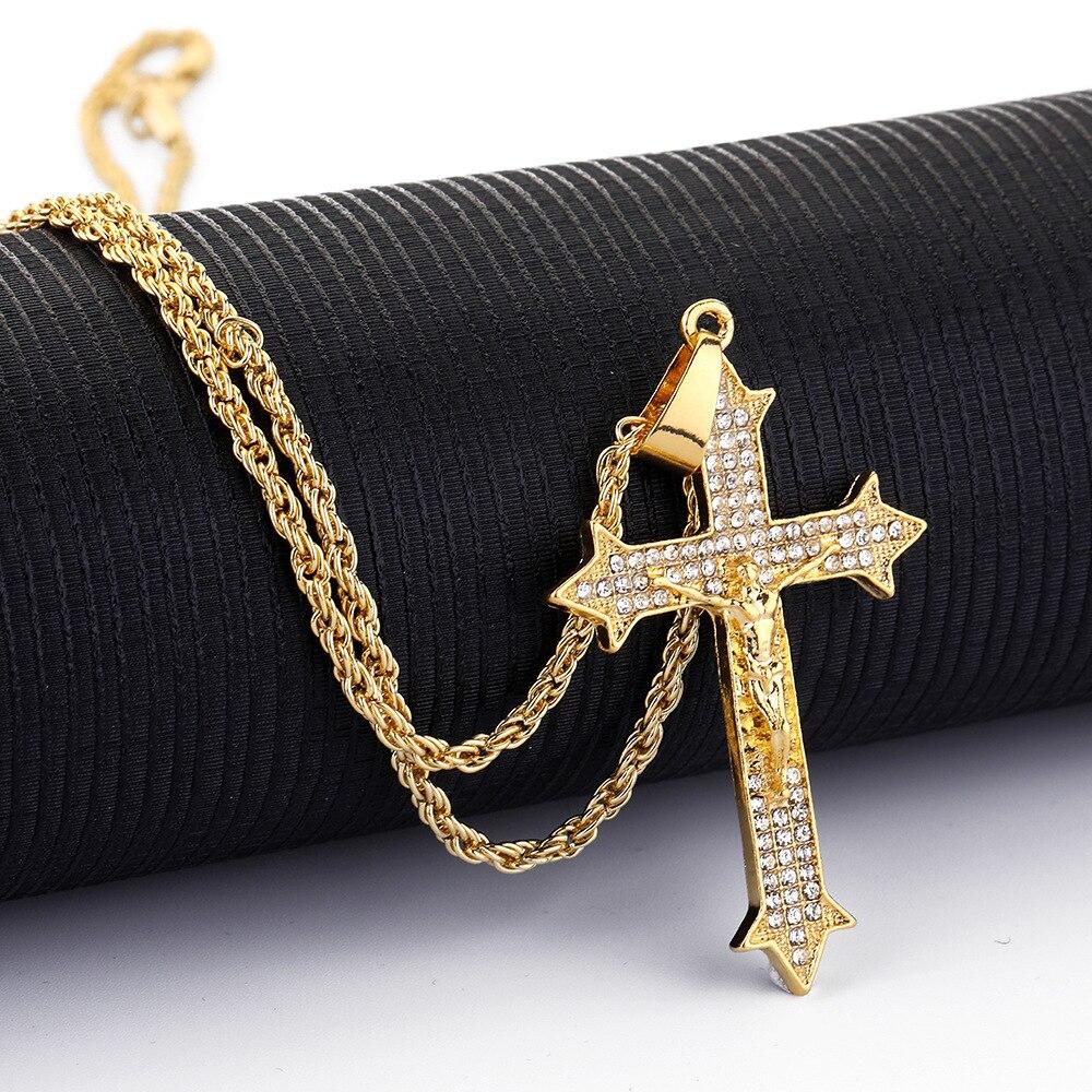 Cross Pendant Necklace Crystal Cross Jesus Necklace Rhinestone Women Men Charm Jewelry Hip Hop Pendant Fashion Golden Necklace