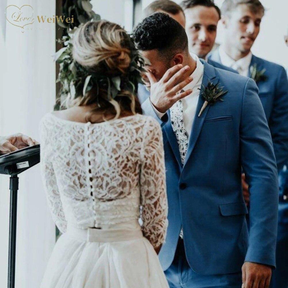2021 Sale A-Line 2-Piec Wedding Dress V-Neck Three Quarter Sleeve Floor Length Back Button Lace Top Ruffles Vestidos De Novia