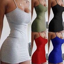 Solid Sexy Dress Women Spaghetti Strap Dresses Female High Waist Sheath Club Dress Short Summer 2021