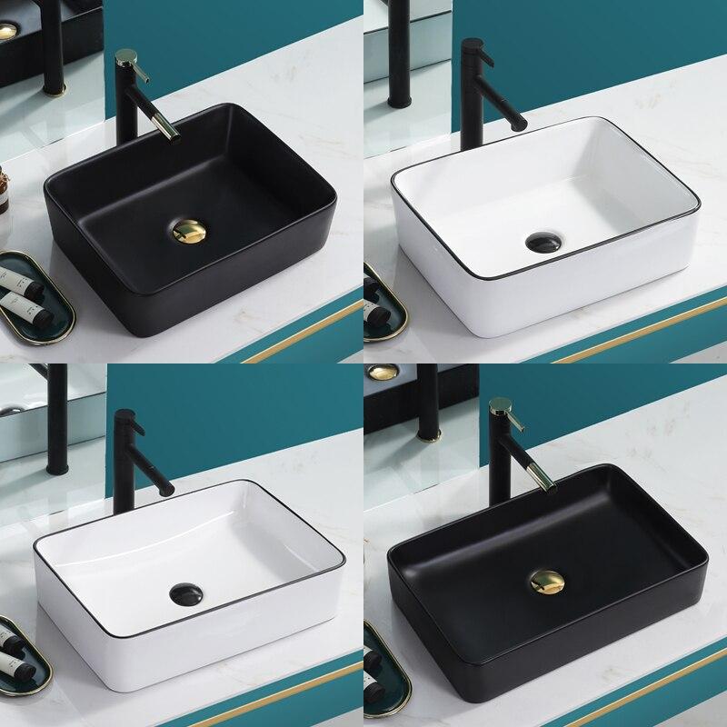 Nordic Black Above Counter Basin Household Wash Basin Single Basin Ceramic Washbasin Pool White Square Bathroom Balcony Basin