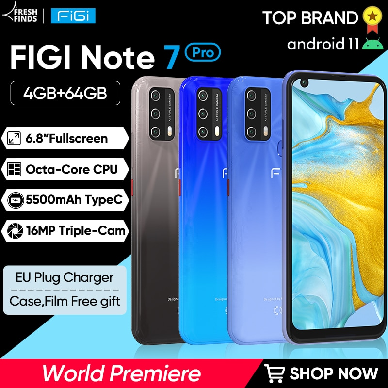 Смартфон FIGI Note 7 Pro, 8 ядер, 5500 мАч, 6,8 дюйма, 4 + 64 ГБ, Android 11