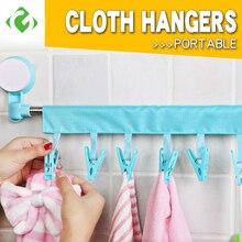 2020 Magical Draagbare Doek Hanger Droogrek Opvouwbare Badkamer Rack Reizen Wasknijper 6 Clip Hanger Handdoek Sokken Hanger Clip