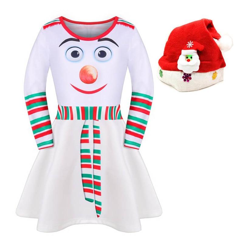New Year Baby Girl Christmas Dress Girl's Merry Christmas Dress Children Kids Cotton White Dress Girls Snowman Christmas Dress