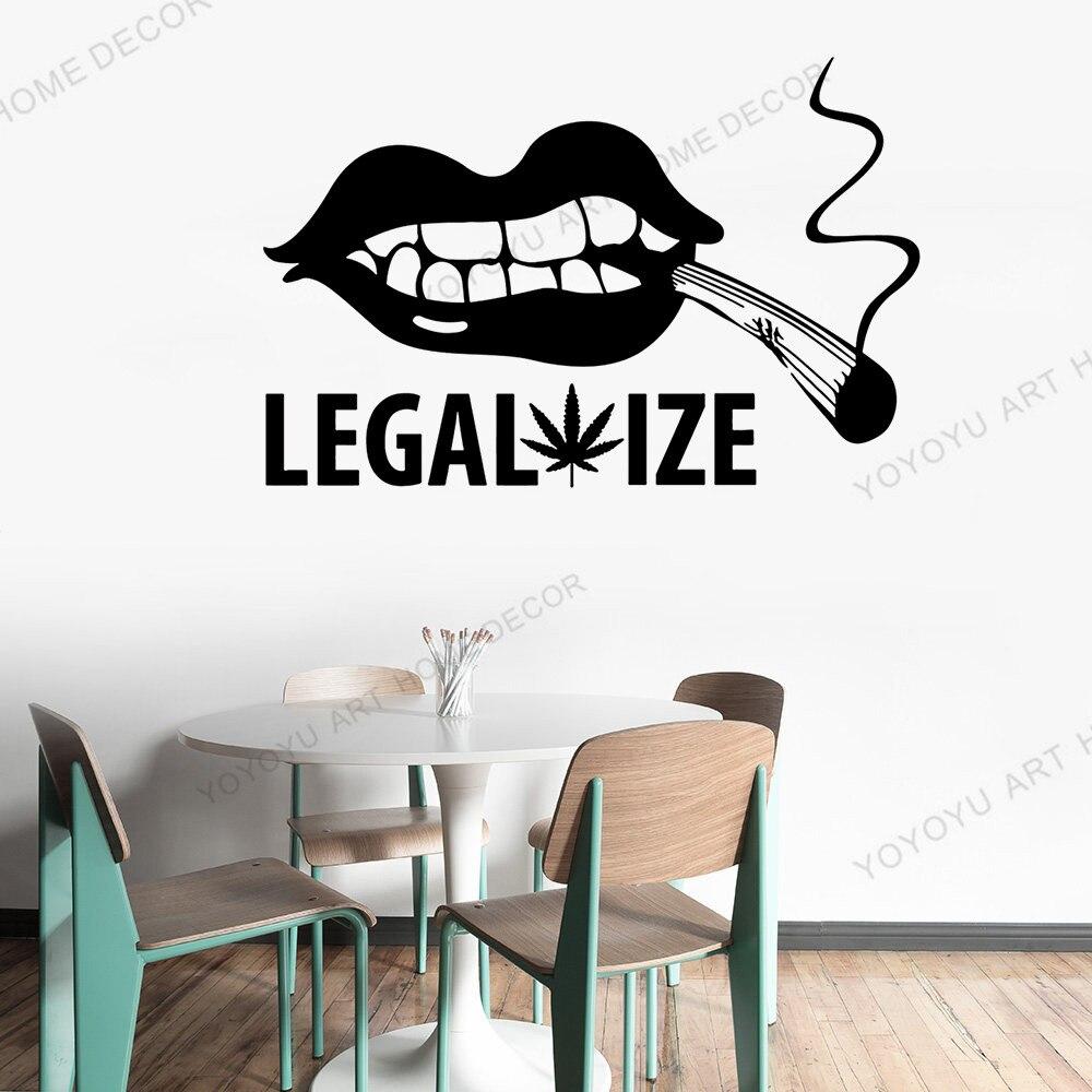 Calcomanía de labios Sexy para pared, hoja de arce común, legaliza Fumar hierba, vinilo, pegatinas para ventana, fumar para café, decoraciones para restaurante rb360