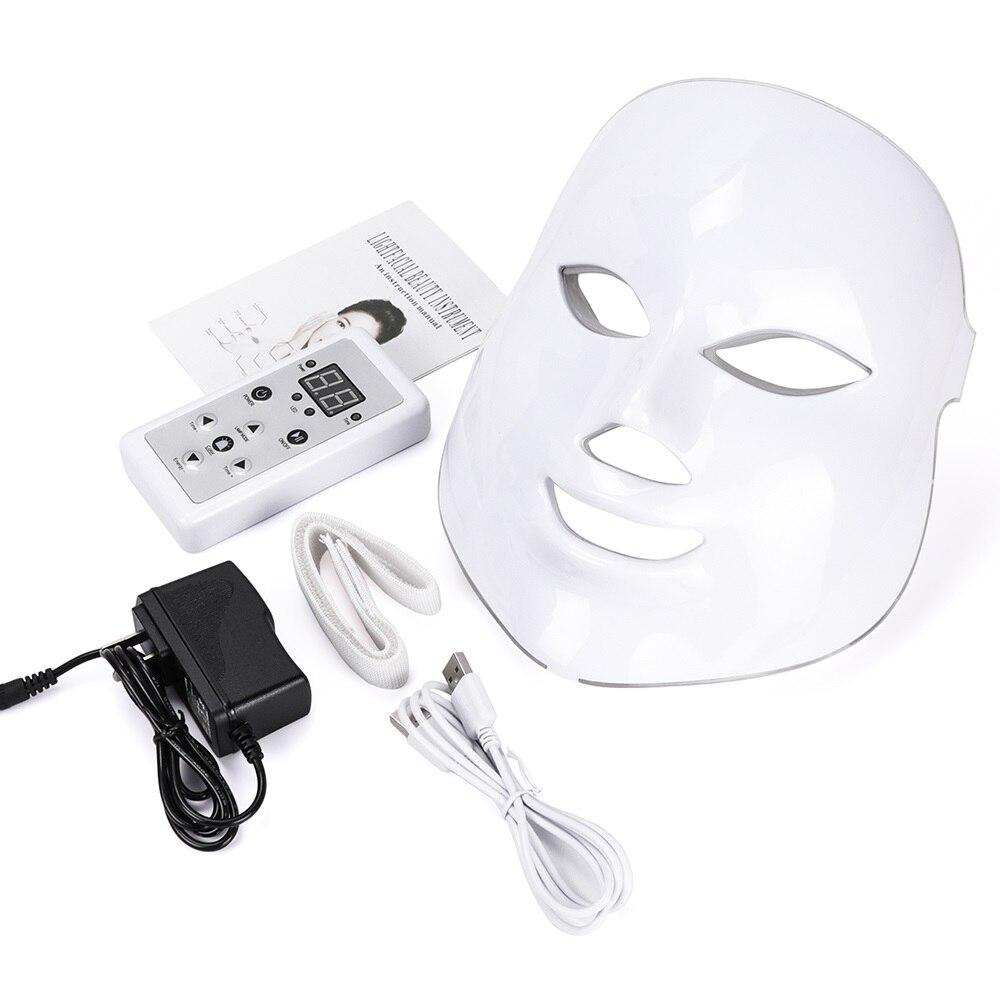 Coreano 7 colores LED máscara Facial máscara cuidado de la piel belleza fotón máscara terapia luz rejuvenecimiento de la piel Facial PDT instrumento