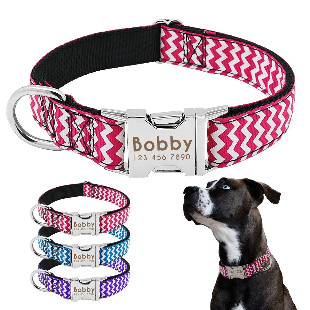 Dog Collar Nylon Engraved Customized Puppy ID Tag Collar AntiLost Medium Large Dog For Nameplate Personalized Adjustable Collars personalized dog collar nylon print dog collars customized puppy pet collar engraved name id for small medium large big dogs pug