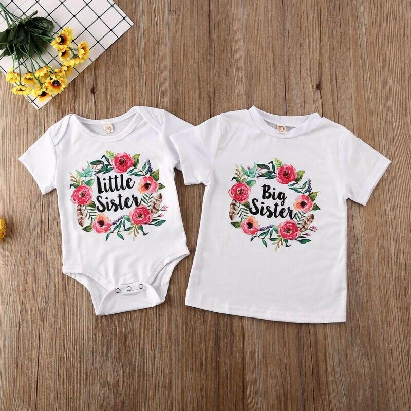 Ropa de verano de algodón a juego para la familia, camiseta de hermana mayor, trajes de Pelele de hermana pequeña