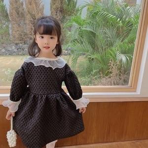 Girl Dress Kids BabyParty Evening Gown 2021 Warm Plus Velvet Thicken Winter Autumn Princess Long Sleeve Children Clothing