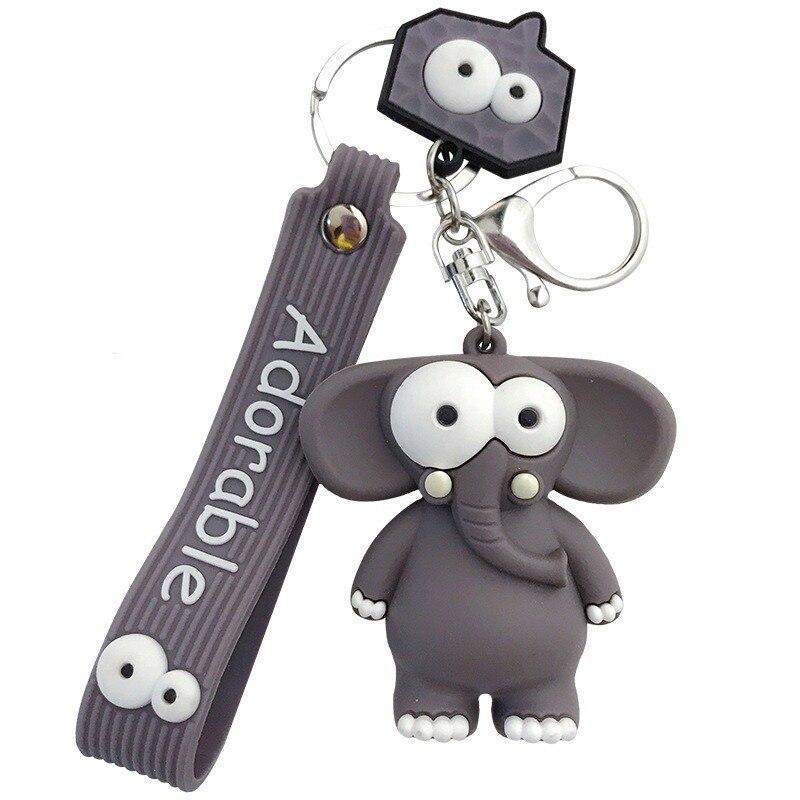 Funny Cute Eye Popping Elephant Key Chain Cute Cartoon Drop Glue Pop Eye Cow Car Key Chain Bag Pendant