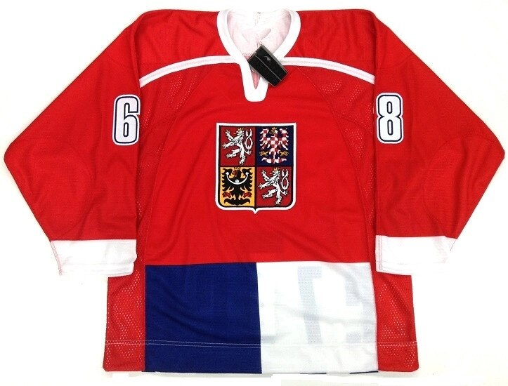 Raro Vintage #68 Jaromir Jagr equipo nacional de la República Checa Jersey de Hockey para hombres bordado cosido personalizar cualquier número y nombre