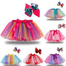 Enfants filles jupes fête danse Ballet Costume épissure arc-en-ciel Tulle jupe + arc en épingle à cheveux arc-en-ciel impression mignon bébé jupes enfants