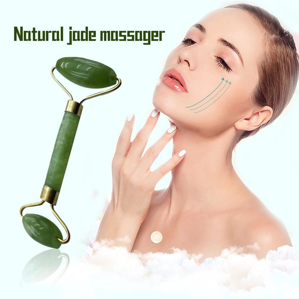 Przyrząd rolujący do masażu twarzy podwójne/pojedyncze głowy Jade kamień masażer lifting twarzy ciała skóry relaks szyi cienki podnośnik relaks odchudzanie narzędzia