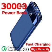 Power Bank 30000mah 2 USB External Battery LED Powerbank Portable Mobile Phone Charger for smart pho